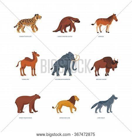 Extinct Animals. Prehistoric American Extinct Wild Animals. Flat Style Vector Illustration Isolated