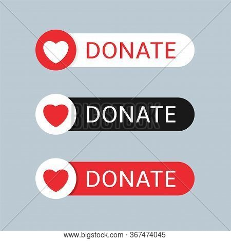 Voluntary And Donation Concept. Donate Button Icon Set. White, Black And Red Buttons With White And
