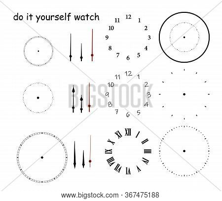 Blank Clock Face With Hour, Minute And Second Hands Isolated On White Background. Just Set Your Own