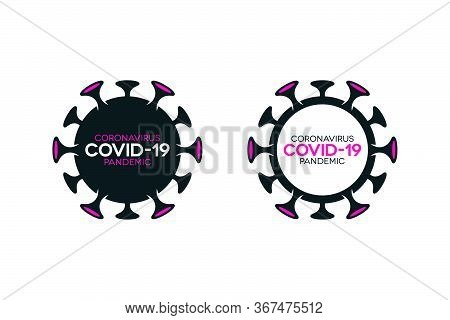 Covid-19 Lettering Icons Set On White Background. Novel Coronavirus Filled And Outlined Symbols.