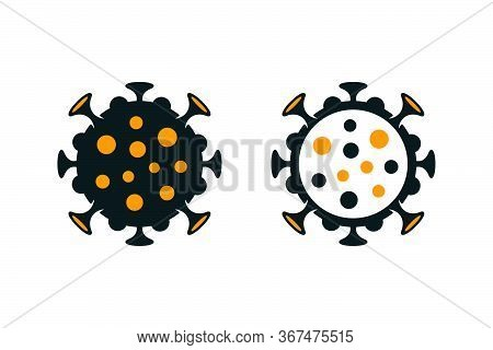 Coronavirus Covid-19 Spotted Icons. Filled And Outlined Virus Symbols On White Background.