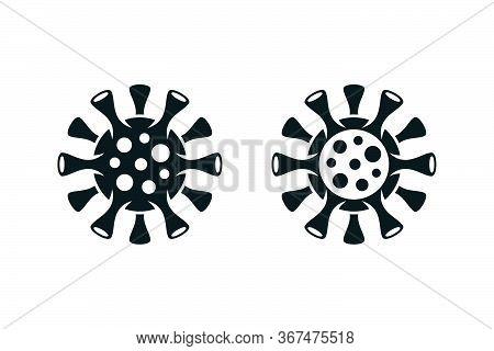 Novel Coronavirus Filled And Outlined Virus Symbols. Covid-19 Minimal Icons On White Background.