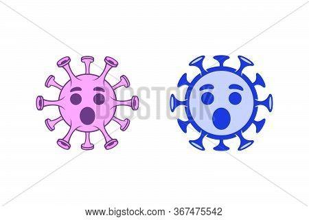 Confused Coronavirus Ghost Emoticons. Cute Covid-19 Icons On White Background.