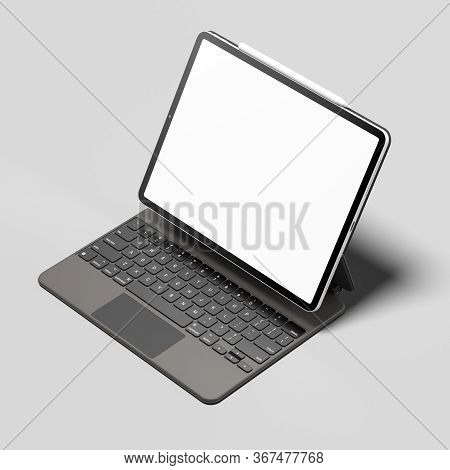 Modern Laptop With White Blank Screen And White Pen Above On Light Gray Background. Minimalism. Copy