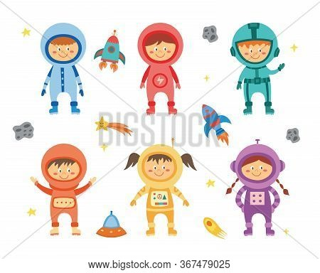Kids Astronauts And Cosmonauts Set With Rockets Flat Vector Illustration Isolated.