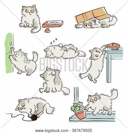 Bad Behavior Of Playful Naughty Cat Sketch Vector Illustrations Set Isolated.