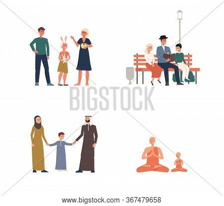 Set Of Religious Families Of Jews And Christians, Muslims And Buddhists.