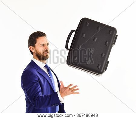 Businessman With Beard Tosses Or Cathes Briefcase. Business Offer Concept.