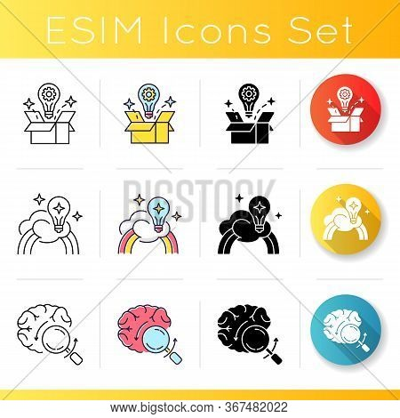 Smart Solution Icons Set. Idea Generation. Imagination For Creative Artist. Briefing For Work Projec