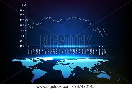 Abstract Background Blue Histotaical Percent Of Yield And World Map
