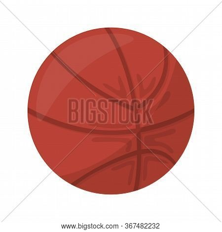 Single Brown Ball For Playing Basketball. Object Made Of Rubber, Leather Or Synthetic Leather Isolat