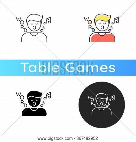 Song Game Icon. Fun Board Game, Musical Entertainment. Linear Black And Rgb Color Styles. Recreation
