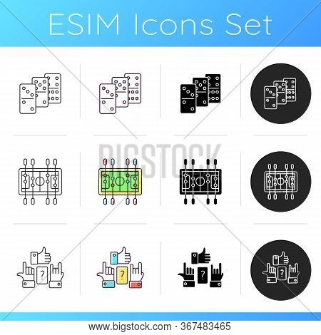 Table Games Icons Set. Popular Recreational Activities. Table Soccer, Dominoes And Charades. Linear,