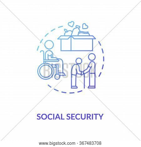 Social Security Concept Icon. People In Need Help. Old Age Pensioners Support. Voluntary Service. Fo
