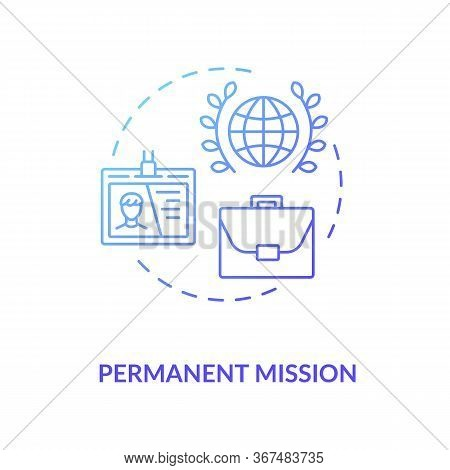 Permanent Mission Concept Icon. International Organisation Idea Thin Line Illustration. Foreign Coun