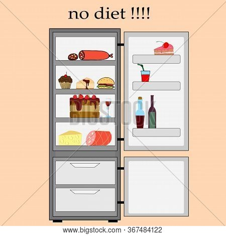 Outdoor Refrigerator With Non-dietetic Products, Vector Illustration For Different Design