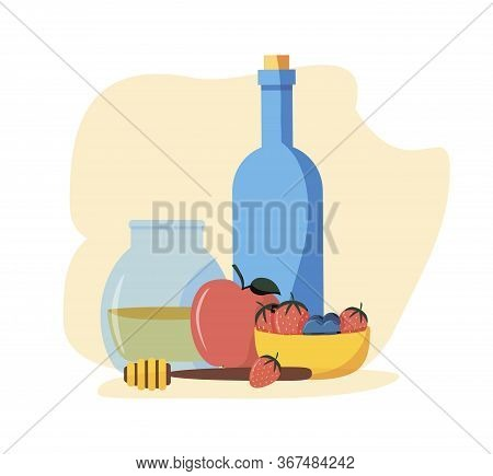 Rosh Hashanah, Shana Tova Or Jewish New Year Flat Vector Icons Set, With Honey, Apple, Bee, Bottle,