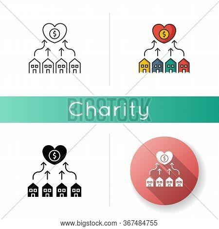 Neighborhood Development Icon. Suburban Community Union. Financial Contribution To Residential Housi