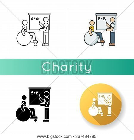 Inclusive Education Icon. Assistastance For Person With Disability. Handicapped Student Support. Sch