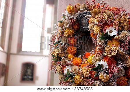 garland in a church