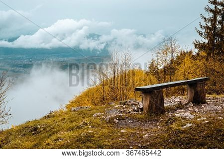 View On Valley Nature Landscape. Mountain Layers Landscape. Rainy Day In Mountain Landscape. Valley