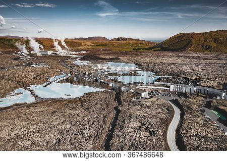 Blue Lagoon, Iceland - May 20: Aerial View Of The Blue Lagoon, A Geothermal Bath Resort And One Of T