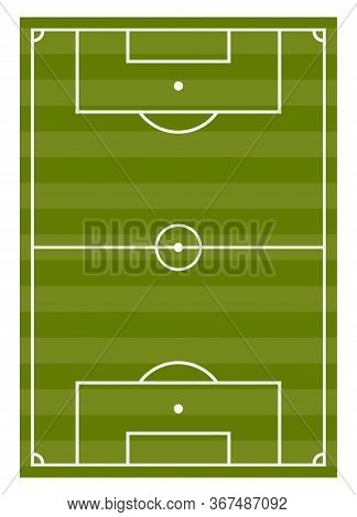 Football Pitch Flat Vector Illustration. Empty Soccer Green Field With White Marking Lines Top View.