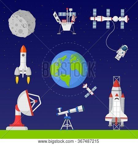 Space Exploration Flat Vector Illustrations Set. Astronautics Technology. Earth Observation Satellit