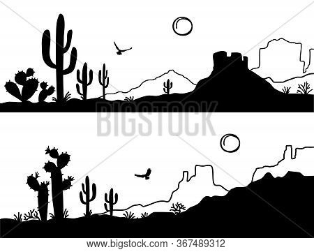 Desert Landscape With Cactuses. Arizona Desert Mountains Black Silhouette Isolated On White. Vector