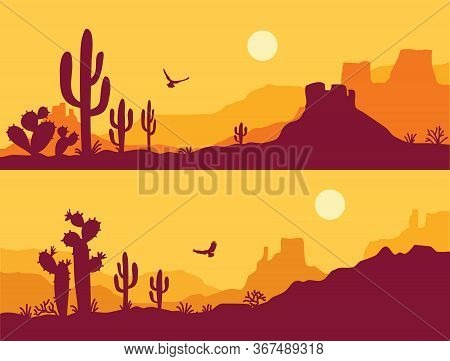 Desert Landscape With Cactuses. Arizona Desert Mountains Silhouette Vector Nature Horizontal Backgro