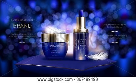 Night Cosmetic Series For Face Skin Care, Realistic Vector. Blue Jar Of Cream And Serum Bottle. Cosm