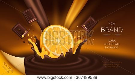 Chocolate And Orange Slice Falling Into Liquid Crown Splash Realistic Vector Illustration. Mock Up W