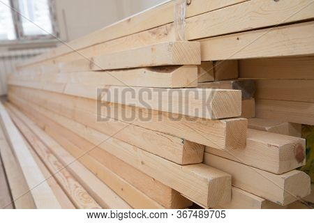 Timber Industry Objects. Finished Wood Beams Or Plank At A Warehouse. Hardware Store, Construction M