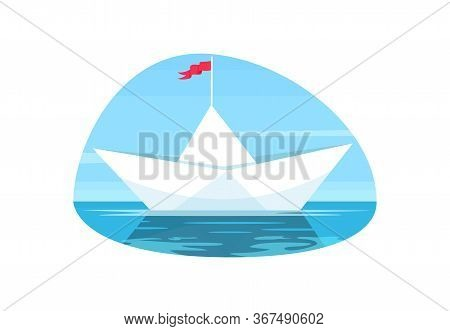 Paper Boat With Red Flag Semi Flat Vector Illustration. Origami Water Vessel. Calm Sailing On Seasca