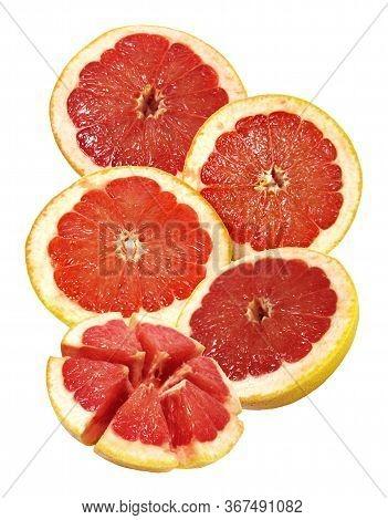Grapefruit Citrus Fruit Isolated Compositiom On White Background Macro Photo