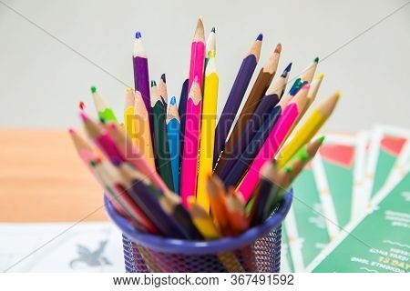 Colored Pencils Arranged In A Row And In A Circle . Close Up Of Colorful Set Wooden Color Pencil In