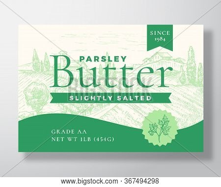 Parsley Salted Butter Dairy Label Template. Abstract Vector Packaging Design Layout. Modern Typograp