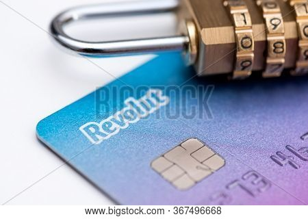 Wroclaw, Poland - May 20, 2020: Revolut Debit Card With Padlock, Security Concept. Revolut Ltd Is A