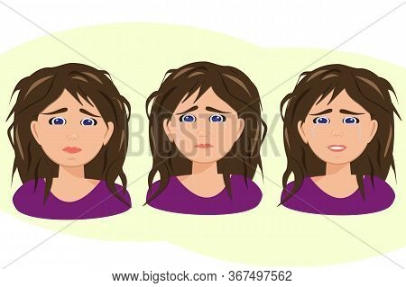 Cartoon Character On White Backdrop. Female Stress. Exhausted Set Portrait On White Backdrop. Vector