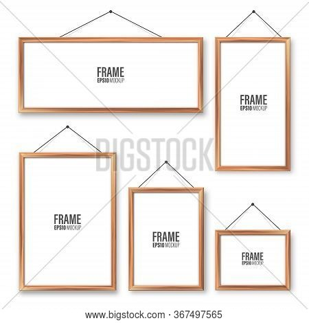 Realistic Hanging On A Wall Blank Wooden Picture Frames Set. Modern Poster Mockup. Empty Photo Frame