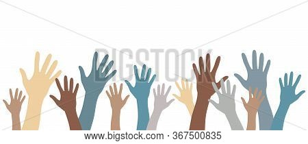 Hands Up Pale Color Silhouettes Raised Up Vector Set Banner. Multinational International Concept Of
