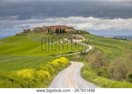 Village Of Mucigliani On Top Of A Hill In Tuscany, Italy, April.