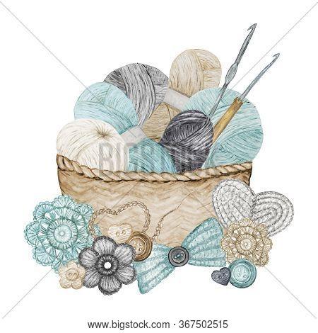 Scandinavian Style Crochet Shop Logotype, Branding, Avatar Composition Of Hooks, Yarns, Crocheted He