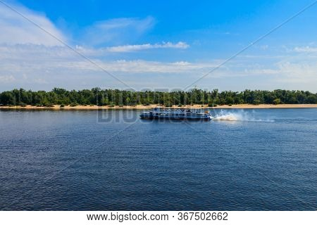 Kiev, Ukraine - July 28, 2018: Tourist Ship Sailing On The Dnieper River In Kiev