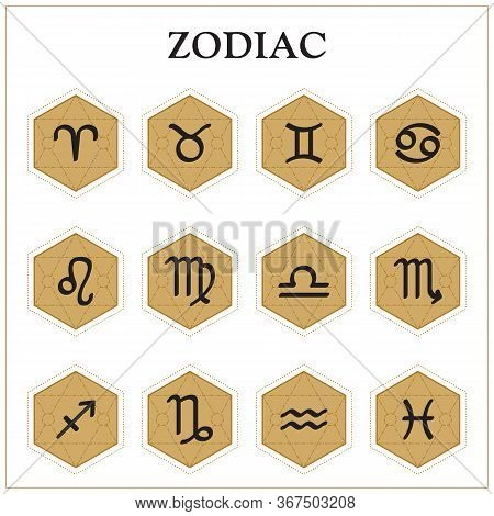 Zodiac Icons. Set Of Zodiac Signs. Astrological Signs Isolated On White Background