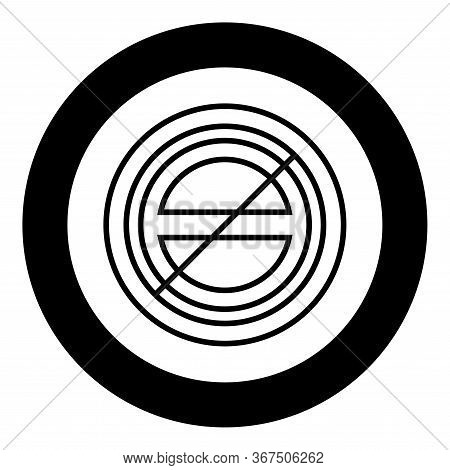 Halogen Symbol Type Cooking Surfaces Sign Utensil Destination Panel Icon In Circle Round Black Color