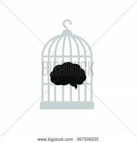 A Black Brain Inside The Birdcage. Isolated Vector Illustration