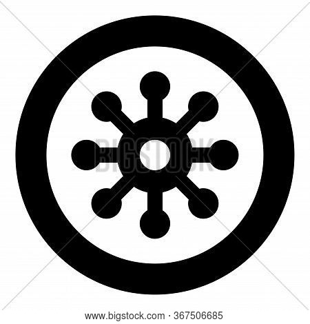 Virus Corona Infaction Coronavirus Covid-19 Infection Virology Icon In Circle Round Black Color Vect