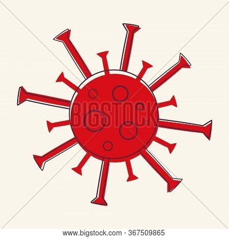 Red Coronavirus Doodle Vector Isolated On A Light Background, Covid-19 Virus Illustration