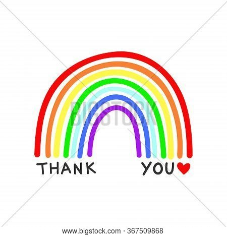 Rainbow Vector With Thank You Text On A White Background, In A Childlike Naive Style